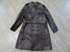 vintage DOUBLE BREASTED barnstromer LEATHER trenchcoat 44-46 LARGE brown BELTED