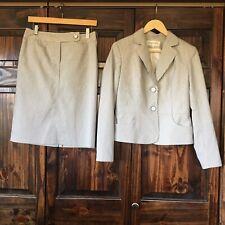 Jones New York Skirt Jacket 2 Pc Gray Stripped Lined Suit Size 4 Women's