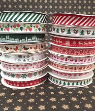 16 MM Bertie Bows Stripes Snowsflakes Christmas Ribbon Gift wrapping Ribbons