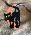 "Vintage Repro Black Cat on Half Moon Halloween Cardstock Decoration, 2"" to 3"""