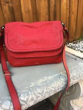 New Fossil Women Peyton Double Flap Leather Crossbody Bag Red