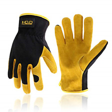 Men Leather Gardening Utility Work Gloves for Building Work Breathable Large