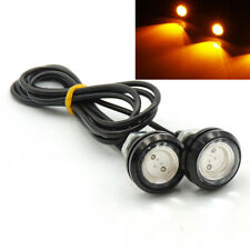 1 Pair Small LED Black DOME Motorcycle-Chopper-Bobber Turn Signal Lights-Amber