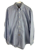 Brooks Brothers 346 Button Down Shirt  Mens Large Blue Striped Cotton LongSleeve