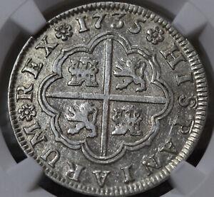 Philip V 2 Reales 1735 S-PA  NGC AU50