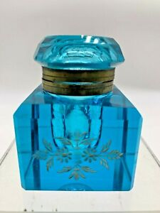 ANTIQUE VICTORIAN TURQUOISE GLASS  INKWELL W/GOLD EMBOSSED FLORAL