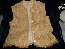 #91 vtg blouse ? vest ? button dow front sleeveless Hemp Lined Bill Atkinson