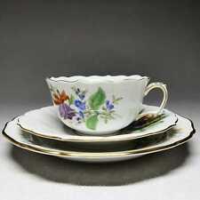 Meissen Blume 3 - Teegedeck, 3-teilig Teetasse Kuchenteller Untertasse #B667