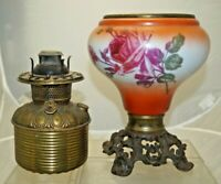 Antique 1880's - 90's Royal Gone With the Wind Oil Lamp BASE ONLY HAND PAINTED
