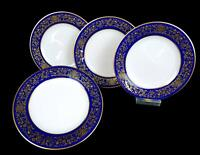 "NORITAKE #7902 NOBLESSE COBALT GILT FLOWERS LEAVES  4 PIECE 6 3/8"" BREAD PLATES"