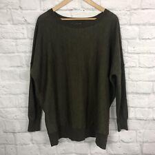 Eileen Fisher Women's Small Pullover Sweater Green Wool Knit Oversized