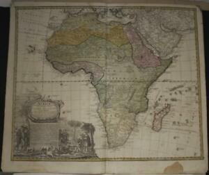 AFRICAN CONTINENT 1744 HOMANN HEIRS & HAAS UNUSUAL ANTIQUE COPPER ENGRAVED MAP