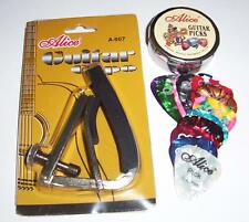Acoustic GUITAR CAPO + 12  Picks Tin  &  Guitar cleaning cloth !  -  FREE POST !