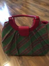 NESS Edinburgh Green Tartan Wool Blend Handbag  With Red  Trimmings Mint