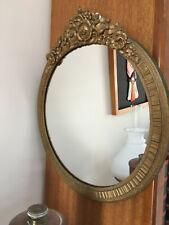 Antique Victorian Round Vanity/Mantle Mirror Hanging Wall Mount