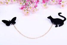 Brosche Katze Katar Cat Schmetterling Gold Anstecknadel Button Anstecker Badge