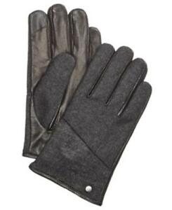 Calvin Klein Mixed Media Gloves Charcoal Black Mens Large New