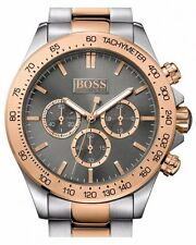New Hugo Boss Men's Ikon Chronograph Rose Gold Silver Steel Watch 1513339