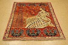 Circa 1920's Antique Shraz Qshkai Rug 4x5.3 Folklore Design