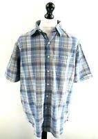 IZOD LUXURY SPORT Mens Shirt Short Sleeve UK XL US L Blue White Check Cotton