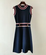 AUTH Ted Baker APRYLL Knitted Sleeveless Skater A-line dress Navy