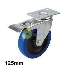 Blue Elastic Rubber Castor -125mm 180Kg Blue Swivel Wheel With Non-Marking Tyres