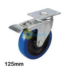 Blu Elastico Gomma Rotella -125mm 180Kg Girevole Ruota Con Anti Segno Pneumatici