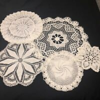 """Vintage Mid Century Hand Crocheted Doilies Lot of 5 White Rounds 10""""-22"""" Asst"""