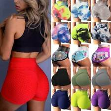 Womens High Waist Hot Pants Yoga Shorts Push Up Ruched Sports Casual Gym Workout