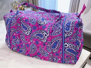 NWOT Vera Bradley Boysenberry  large Duffel  cotton Travel  Bag