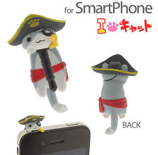 Japan Very Cute Pirate with Hook Cat Cellphone earphone anti dust plug