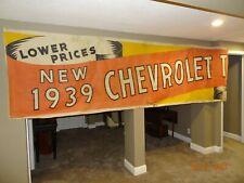 Original! Vintage Chevrolet 1939 Dealership Cloth Banner