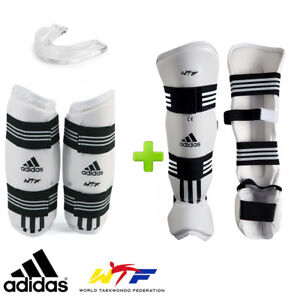 New! adidas TKD WTF Shin & Forearm Competition Sparring Gear Set w/ Mouthguard