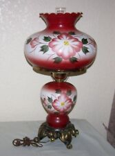 LARGE Vintage GWTW Gone With The Wind 4 Way RED Table Lamp Flowers hurricane XL