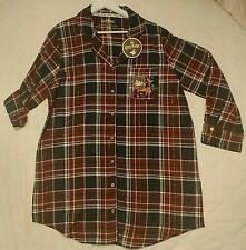 Ladies Harry Potter Night Shirt Size M 12-14  Maroon Tartan Cotton Long Sleeve