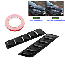 2pcs Durable Black Vent Window Louvers Air Cooling Panel Trim Set For Car Hood