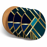 4 Set - Green Gold Deco Geometric Coasters - Kitchen Drinks Coaster Gift #12546