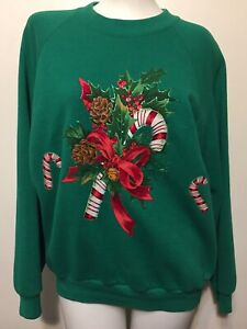 Vintage 80s Women's Christmas Holiday Sweatshirt M Green 50/50 Candy Canes Ugly