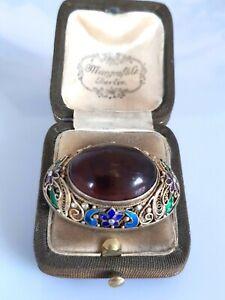 Traumhafte antike Brosche Silber 900 vergoldet, China, wunderschöne Emaille