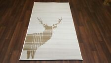 NICE QUALITY NOVELTY 60CMX110CM STAG CHECK APROX 4X2FT WOVEN RUG/MAT BEIGE/CREAM