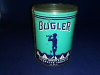 Vintage Bugler Cigarette Tobacco Tin, sharp colors & graphics, 5.5 x 4 in,