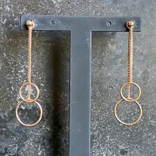 NEW 925 Sterling Silver Rose Gold Plated Chain & Circles Drop Earrings LJ8326