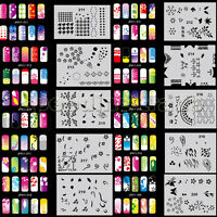 OPHIR Reusable 20 Template Sheets Kit Brush Paint with 200 Airbrush Nail Designs