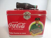 Coca-Cola Train Case Plastic Bottle Handle Latching Close Tin Take Home a Case