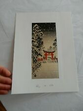 More details for tori gate  snow  japan 1950 - 60 era japanese woodblock print  artist nisaburo i