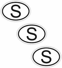 3x Oval Black & White Stickers Sweden Small Country Code Tablet phone Case
