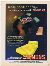 PUBLICITE ADVERTISING 054 1963 SIMMONS matelas sur 5 continents