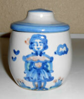 M A Hadley Pottery Blue/White Dutch Girl Decorated Covered Jar!