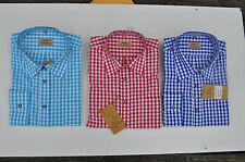 Trachten Hemd, Herrenhemd, Rot, Blau kariert, klassischer Kragen, Oktoberfest