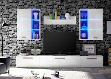 Wohnwand Milo 2 weiß 4-teilig inkl. LED Beleuchtung blau Anbauwand Wohnmöbel